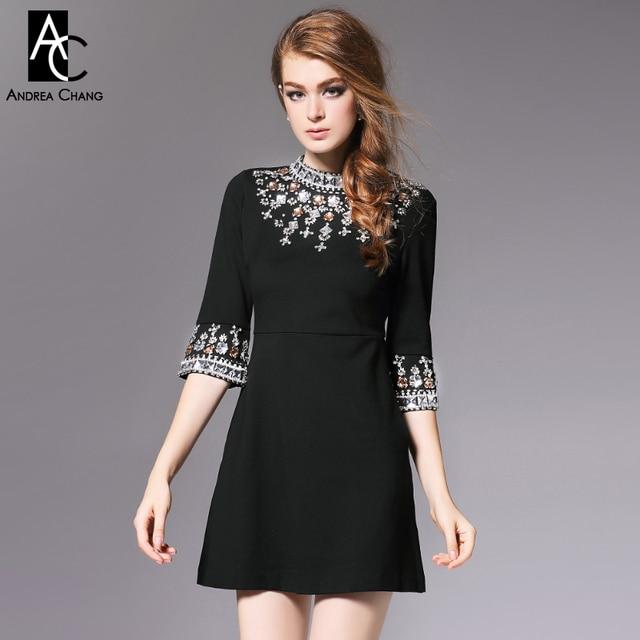 982b1188e Invierno Otoño Invierno diseñador para mujer vestidos de cóctel evento  negro cuello vestido moldeado manga alta