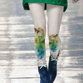 Stockings New Arrival Medias Pantis Woman 2017 Winter Thick Women Pantyhose Girl Color Printing Ink Leg Retro Jacquard Tights