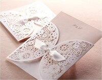 Free Shipping 50pcs White Vintage Flower Laser Cut Wedding Invitation Card Wedding Pocket With Envelope One