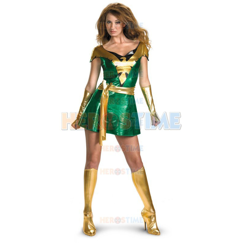 high quality womens adult halloween party jean grey phoenix shiny metallic cosplay costumes zentail superhero female - High Quality Womens Halloween Costumes