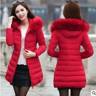 New Wadded Long Jacket Female Coat Women Plus Size Warm Down Cotton Clothing Red Black White Long Sleeve Winter   Parkas   Christmas