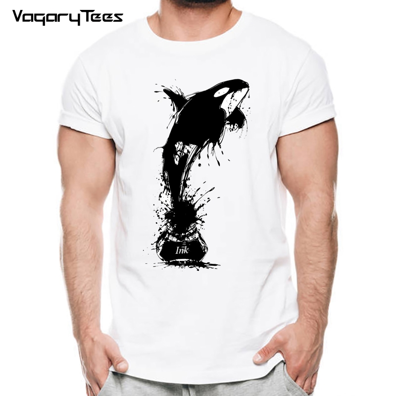 Men's Tops Tees new summer T-shirt Comfortable fitness o-neck tshirt men short sleeve vivid Ink Whale painting t shirt homme