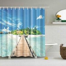 Современная занавеска для душа с морским пляжем и пейзажем, синяя занавеска для ванной, 3D затемненная занавеска для душа, большая занавеска 180x200 см для ванной комнаты