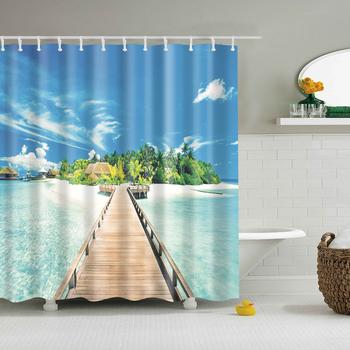 Nowoczesna morska sceneria plażowa drukuj zasłona prysznicowa niebieska łazienka zasłona prysznicowa 3D Blackout duża 180x200cm na kurtyna łazienkowa tanie i dobre opinie LanLove Polyester Modern Scenic TZ170505-TZ170937 Ekologiczne Zaopatrzony