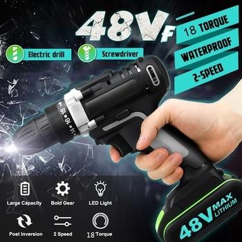48V Cordless Electric Drill 18+1 torque Adjustment Driver Drilling Screwdriver 2 Li-Ion Battery Toolkit Powerful Driling Tool