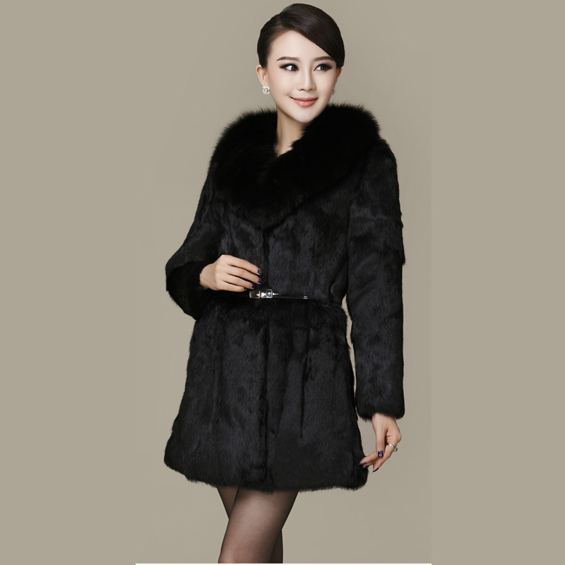 Elegant natural fox fur collar women's whole skin real rabbit fur winter coat outerwear women slim O neck fur coats and jackets