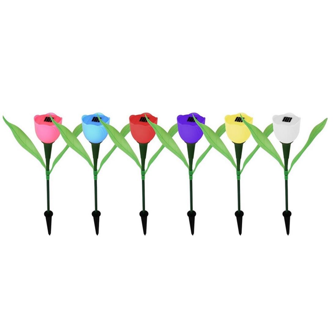 LED Solar Power Garden Lights Colorful Flower Tulip Lamp For Outdoor Landscaping Park Lawns Grasses Christmas Decoration