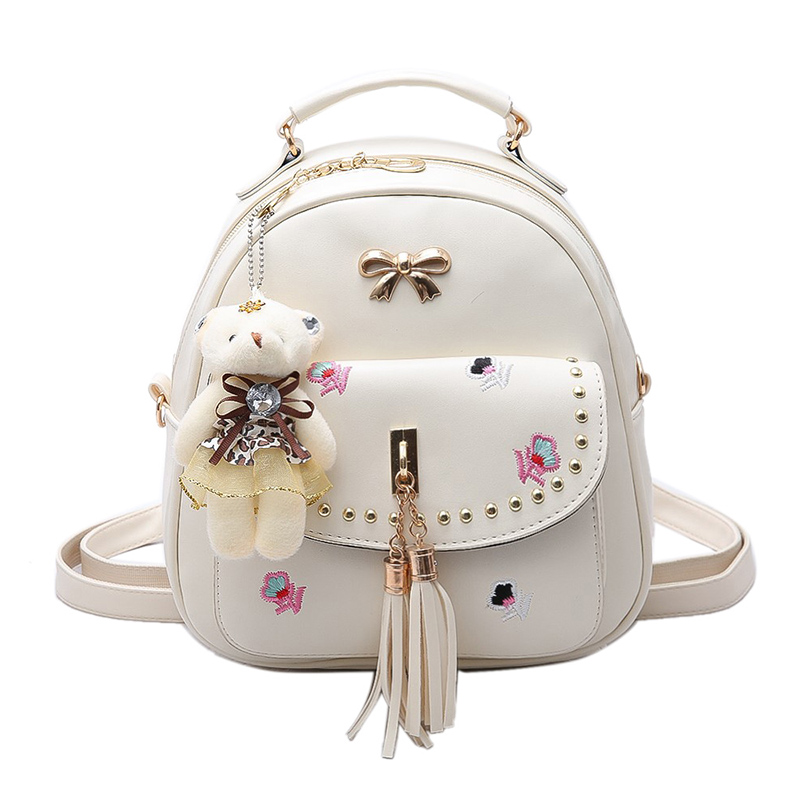 2017 New Arrival Women Backpack Fashion Embroidery Small Cute Girls Shoulder Bag PU Lady Bow Women Bag Tassel School Backpack 2017 small fresh mini shoulder bag with three pairs of ears can replace the small backpack cute modeling trend backpack y088
