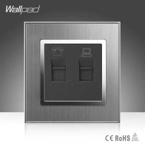 купить TEL + Data Socket Wallpad 110-250V Brushed Metal UK EU Standard RJ11 Telephone and Data RJ45 Lan Cable Jack Wall Socket по цене 720.74 рублей