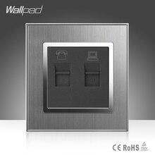 цена на TEL + Data Socket Wallpad 110-250V Brushed Metal  UK EU Standard Telephone and Data RJ45 Lan Cable Jack Wall Socket