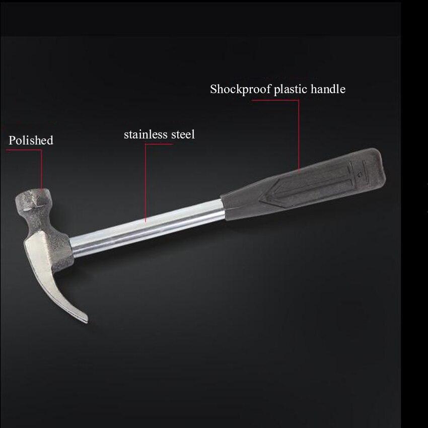 Martillo de acero inoxidable con mango de pl/ástico herramienta de reparaci/ón de mano para carpinter/ía JENOR 18 cm