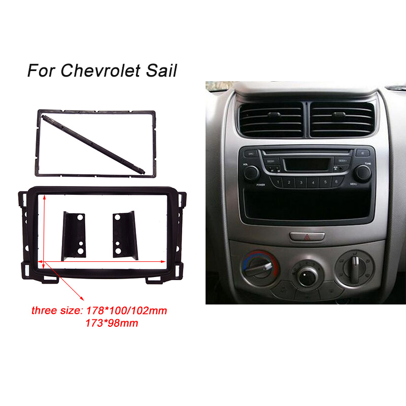 5pcs/lot DVD Stereo Radio Panel Double 2 Din Fascia Dash Mount Install Trim Kit Frame For Chevrolets Sail 2010+