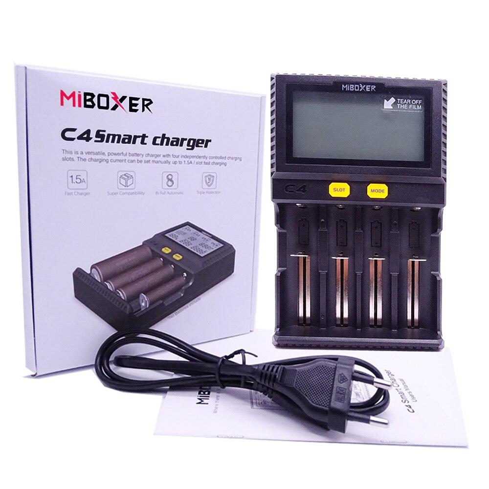 Neueste Miboxer C4 LCD Smart Batterie Ladegerät für Li-Ion IMR ICR LiFePO4 18650 14500 26650 21700 AAA Batterien 100- 800 mah 1.5A