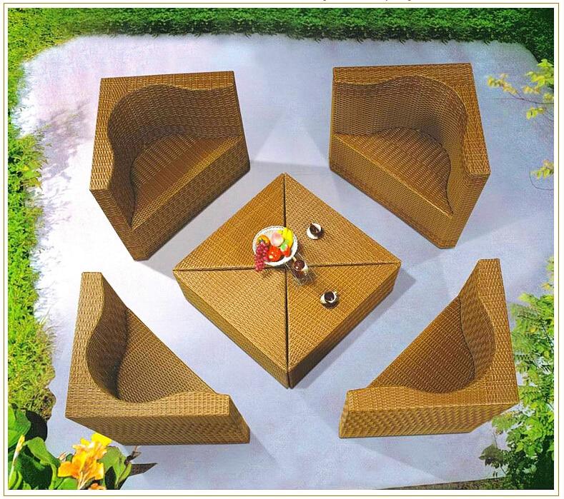 2015 new design PE rattan sofa high quanlity garden furniture rattan furniture patio furniture tea table wicker cushioned