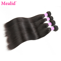 Mealid Brazilian Hair Weave Bundles 4 Bundles Straight Hair Nonremy Natural Color 8 30 Inch Human Hair Bundles