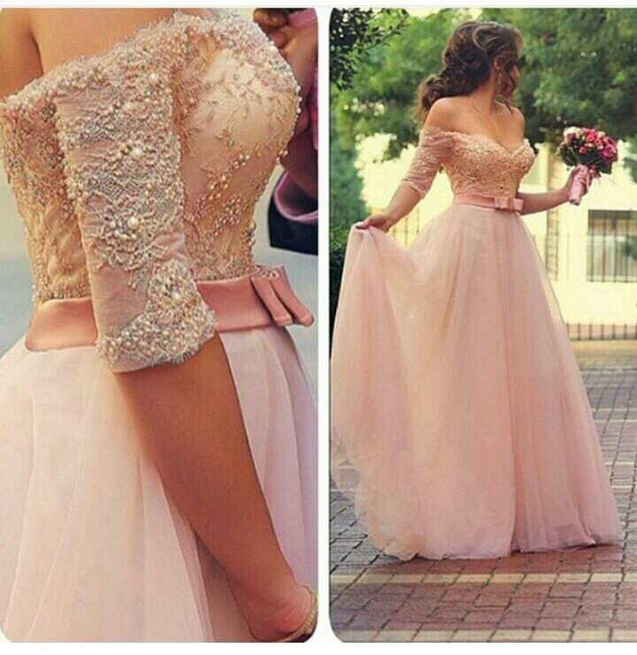 Charming Sweetheart Half Sleeve Tulle   Bridesmaid     Dress   with Pearls and Appliques Floor Length Wedding Party   Dress   Custom Made