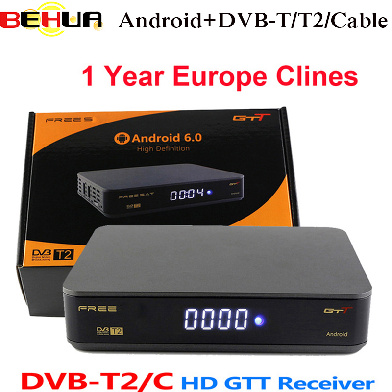 GTT Satellite Receiver Android 6.0 Android DVB-T/T2/Cable Amlogic S905D Quad Core TV Receiver 1G RAM 8GB ROM 1 Year Europe cline