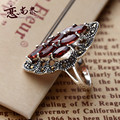 925 Sterling silver women jewelry Natural semi-precious stones Red Garnet Rings Vintage silversmith finger girlfriend gift