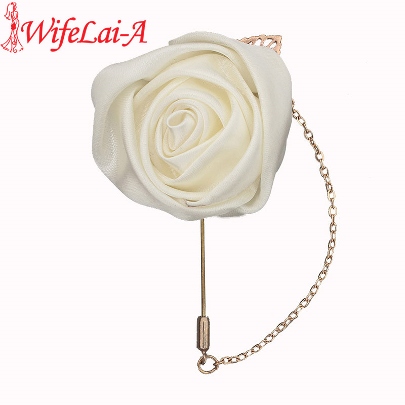 WifeLai-A Handmad Golden Leaf Chain Ivory Satin Rose Men's Suits Corsages Pins Wedding Groom Corsages And Boutonnieres XH0273-17