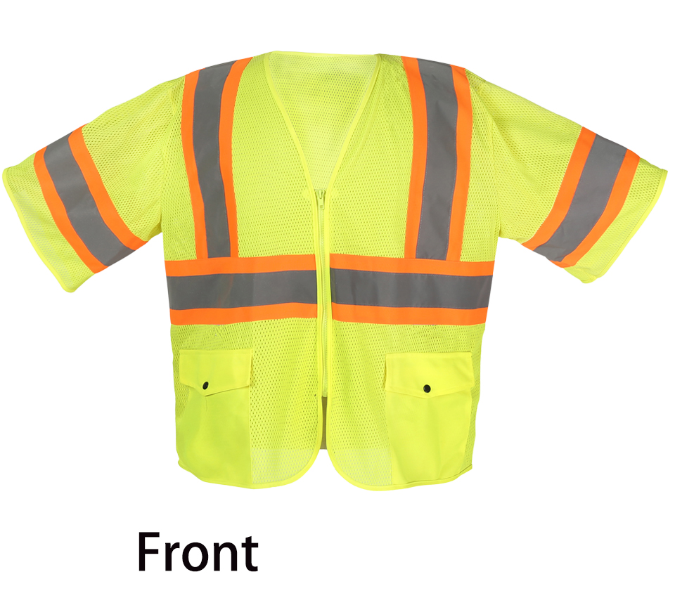 High Quality High Visibility Safety Clothing Reflective Workwear Mens Vest Waistcoat Large Size Fluorescent Yellow fluorescent orange yellow high