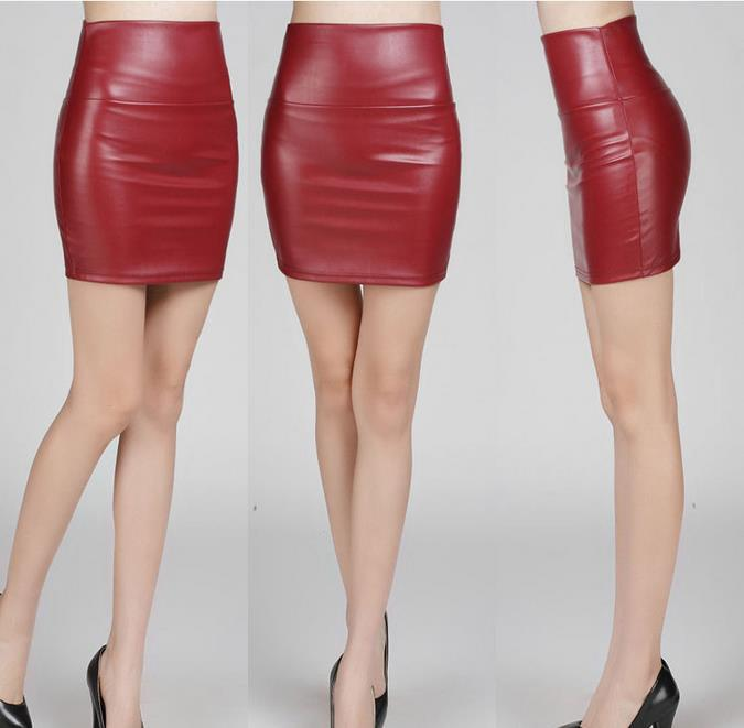 Online Shop 2015 fashion women PU faux leather skirt high waist ...
