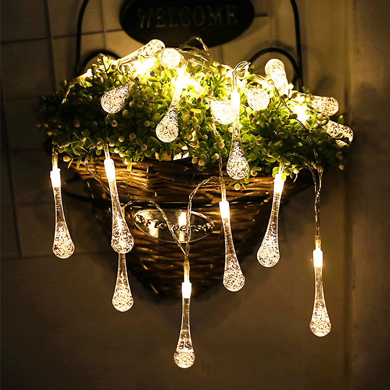 Solar String Light 30 LED Waterproof Water Drop String Fairy Light Outdoor Garden Christmas Party Decoration Solar Lights
