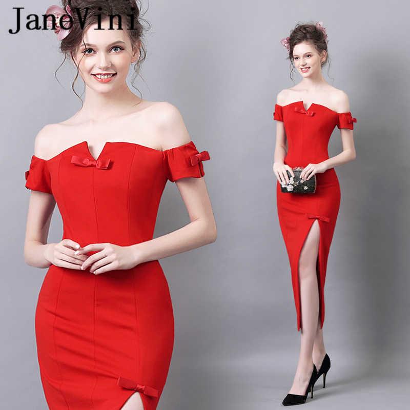 JaneVini Vestidos proste czerwone sukienki dla matki panny młodej syrenka z dekoltem w łódkę na zamek błyskawiczny z powrotem wysoka podziel satynowe suknie wieczorowe herbaty -długość