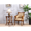 Vintage solid wood fabric cover furniture living room hotel handrail dining chair with 4 legs