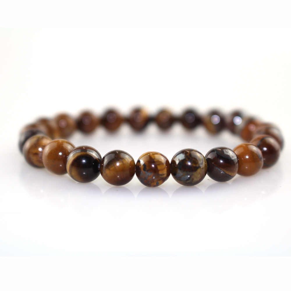 2019 Men Beads Bracelet White Black Matte Stone Natural Tiger Eye Lava Stone Bracelet Mix Style Pulseira Masculina Male Jewelry
