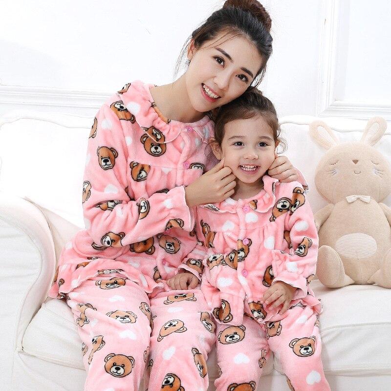 2017 Winter Girls Pajamas Fleece Warm Nightwear Suit