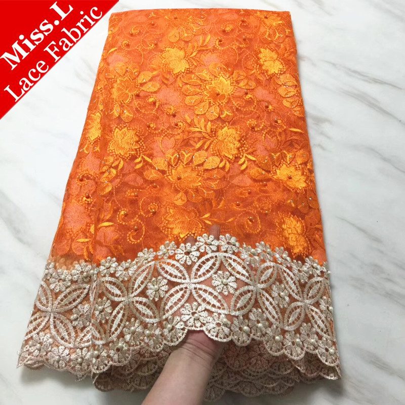 Beautiful Orange African Net Lace Fabric With Stones French Tulle Lace Fabric With Beads 5 Yards