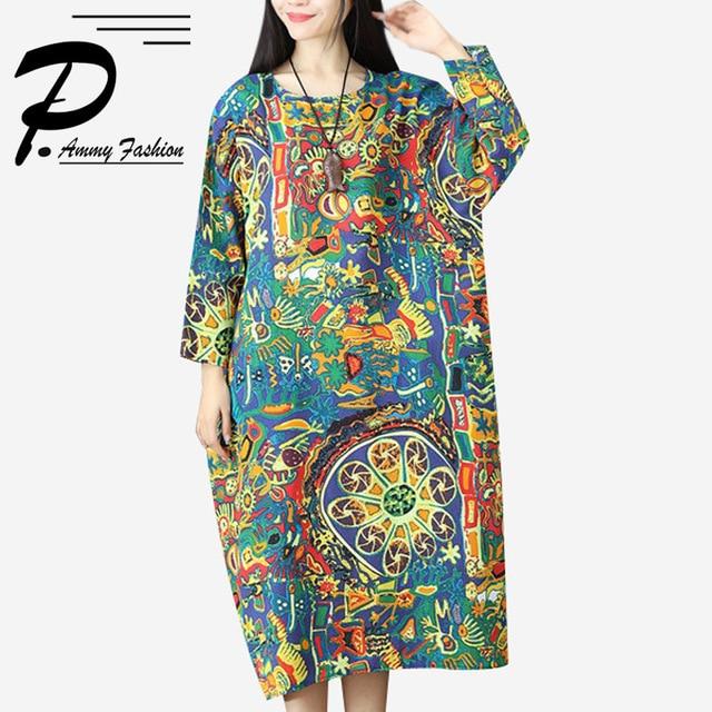Women s Cotton   Linen Plus Size Graffiti Long Dress Lagenlook Lady voguees  new Loose Sleeve Linen ddb9e42f6e3e