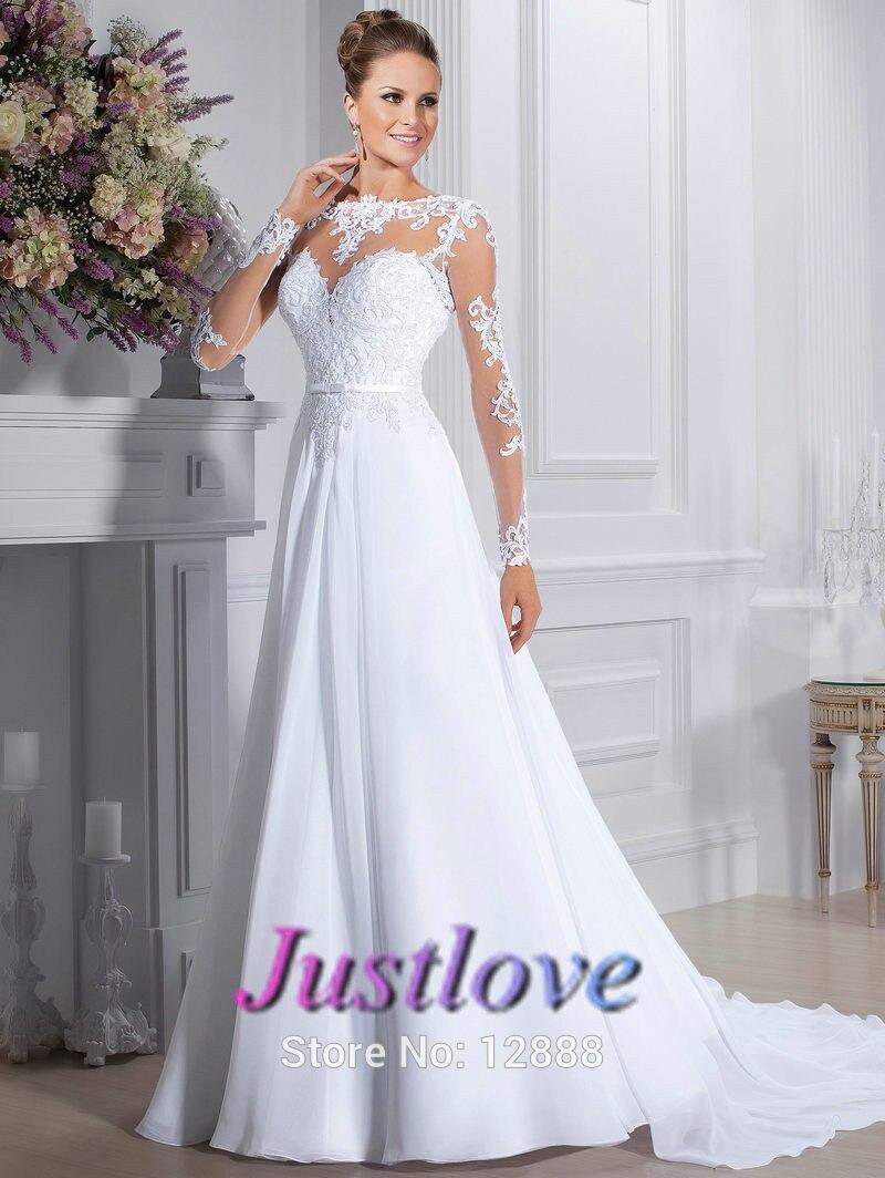 c33fc0e301e Acheter Sdd21 a ligne plage robe de mariée 2015 manches longues en  mousseline de soie blanc et dentelle robe de noiva 2015 robes de mariée pas  cher de ...