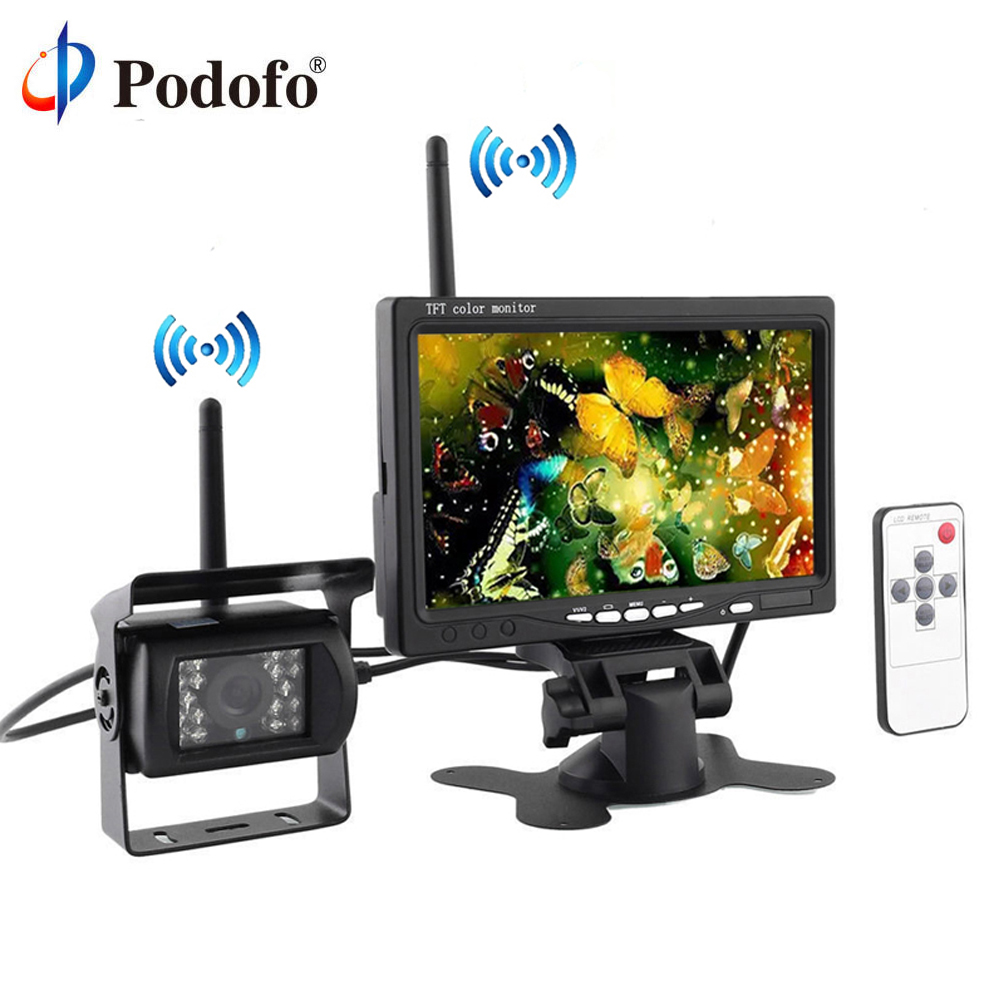 Podofo Built-in Wireless IR Night Vision Waterproof Rear View Back up Camera System + 7 HD Monitor for RV Truck Trailer Bus free shipping 12 24v dc wireless back up reversing camera system kit 7 rear view lcd monitor for truck bus van trailer