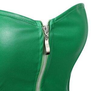 Image 5 - Sexy espartilho vestido feminino de couro falso overbust espartilho bustier com mini saia veneno ivy traje verde plus size S 6XL