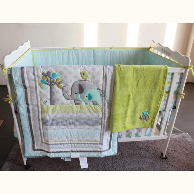 7 Pcs cute elephant Baby Bedding Set Baby cradle crib cot bedding ...