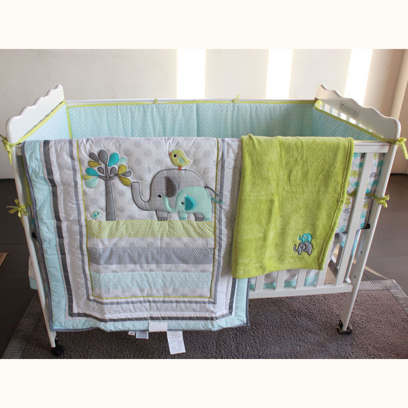 Actief 7 Stks Leuke Olifant Baby Beddengoed Set Babybed Crib Cot Bedding Set Cunas Wieg Quilt Sheet Bumper Bed Rok Inbegrepen