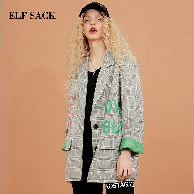 ELF sac Nouvelles À Manches Longues Blazers Femme Costume Vestes Coton Lettre Femmes Vestes D'affaires Bureau Femme Vestes Femme Blazers