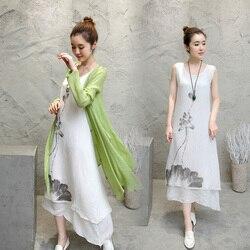 2 pièces 2017 encre de chine imprimé coton lin longue robe décontracté Designs o-cou femmes vêtements robes vert gris couleur