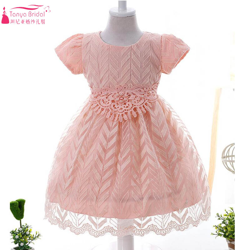 Short Sleeve Baby   Flower     Girls     dresses   Blush Pink Floral Lace Pearl Communion Gowns 3 colors   Girls   birthday Age 0-3 ZF033