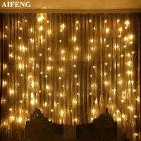 AIFENG Curtain Lights Christmas String 144Leds 192Leds 300Leds 3Mx1 5M 3Mx2M 3Mx3M Curtain Lights For Wedding