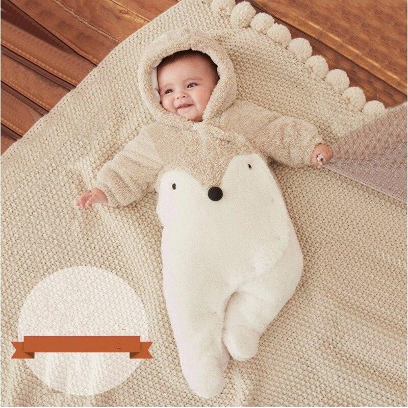 Winter Baby Romper Noworodek Ubranka z długim rękawem polar - Odzież dla niemowląt - Zdjęcie 2