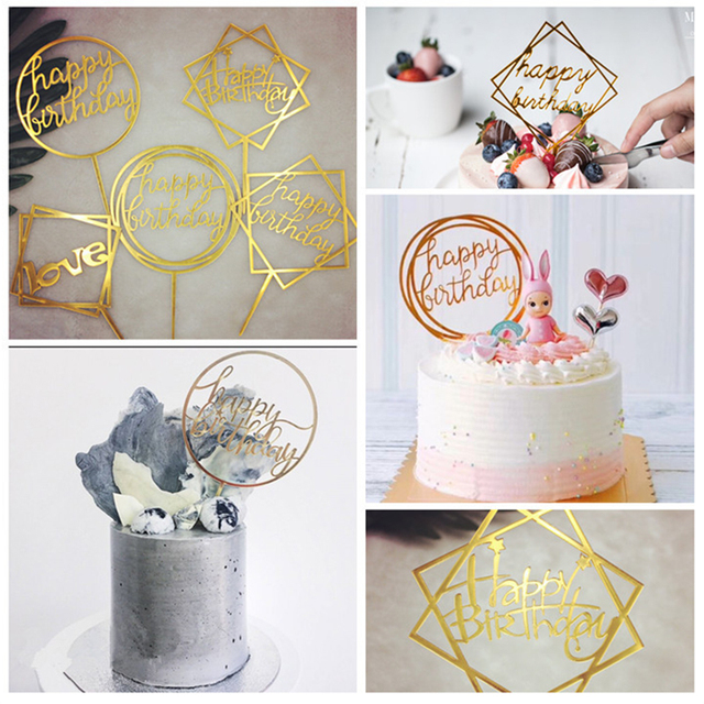 1Pc Acrylic Mix Shape Pink Love Moon Star Round Happy Birthday Cake Topper For Party Decoration Dessert Lovely Gifts