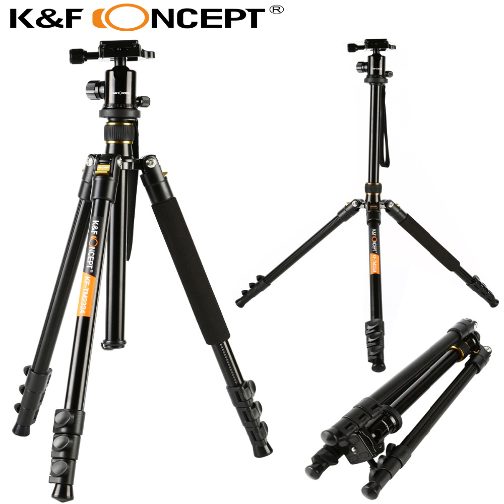 "K & F CONCEPT TM2324 62 ""Portable Professional DSLR Camera Tripod + 360 graders boldhoved + 8KG belastningskapacitet + 1/4"" Quick Release Plate"