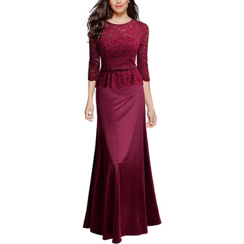 bebc87391f2d43 Frauen Vintage Spitze Formale Akle-Länge Kleid Mode Elegante Damen Kleid  Abend Party Damen V-ausschnitt Lange Kleid Größe s-2XL