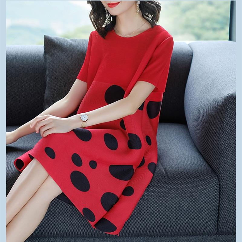 Azterumi Summer New 2019 Women Fashion Polka  Dot Print Knee-length Dress Female Loose Pleated Red Dresses Vestidos Feminina