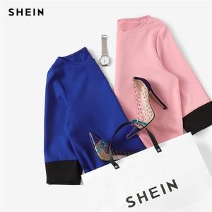 Image 5 - שיין ורוד משרד ליידי Colorblock ניגודיות Trim טוניקת O צוואר 3/4 שרוול ישר שמלת סתיו Workwear אלגנטי נשים שמלות
