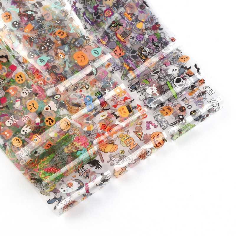 10pcs เล็บ Holographic ฟอยล์โอนกระดาษฮาโลวีนเล็บสติกเกอร์สติ๊กเกอร์กาวฟอยล์เล็บ Art 3d Slider เล็บชุด