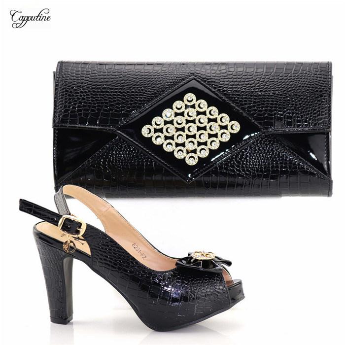 Hot sale black high heel sandal buckle shoes and purse bag set for evening party 8281-F2, heel height 10.8cm
