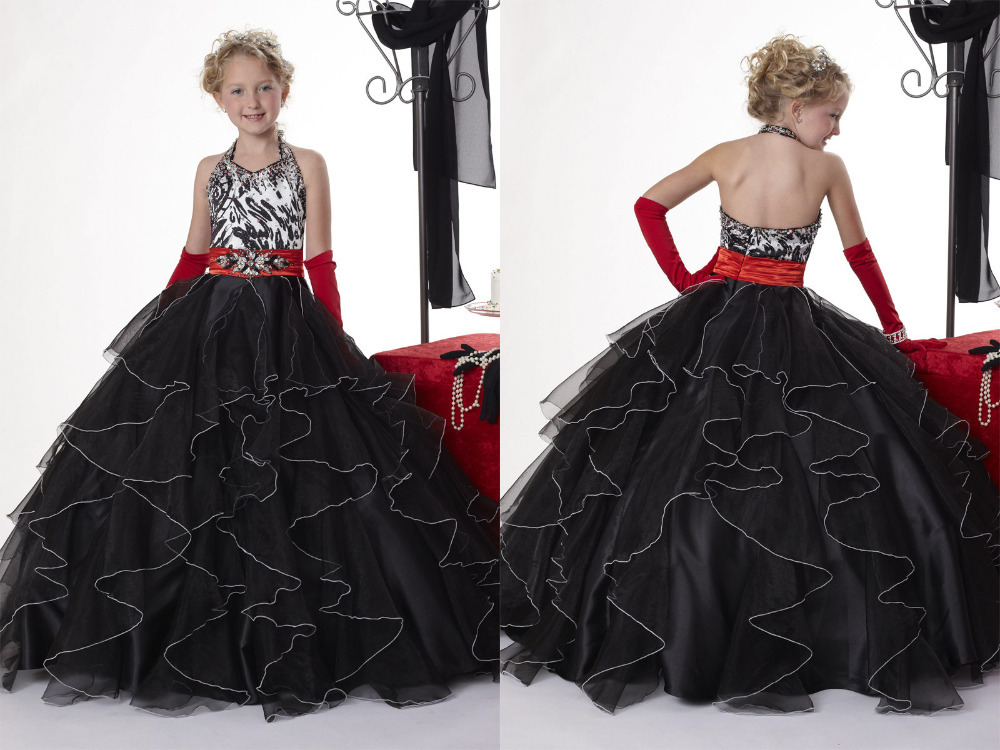 Elegant Sexy Black Dress Halter Girls Pageant Dress Ball